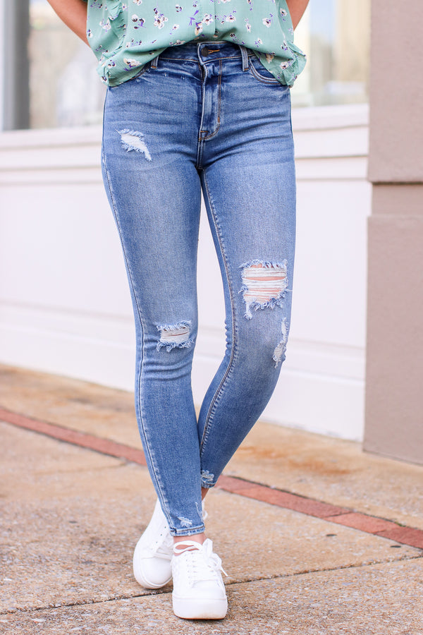 1 / Medium Jaslynn High Rise Distressed Jeans - Madison and Mallory