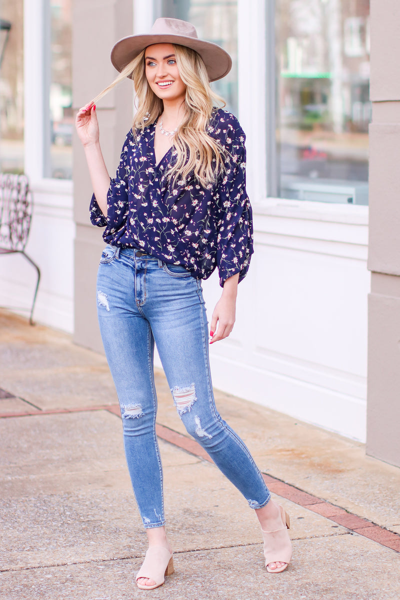 Shreve Floral Surplice Flowy Top - Madison and Mallory