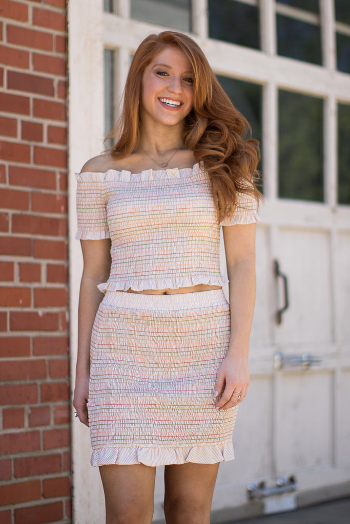 S / Beige Sweet Escape Smocked Skirt - Madison + Mallory