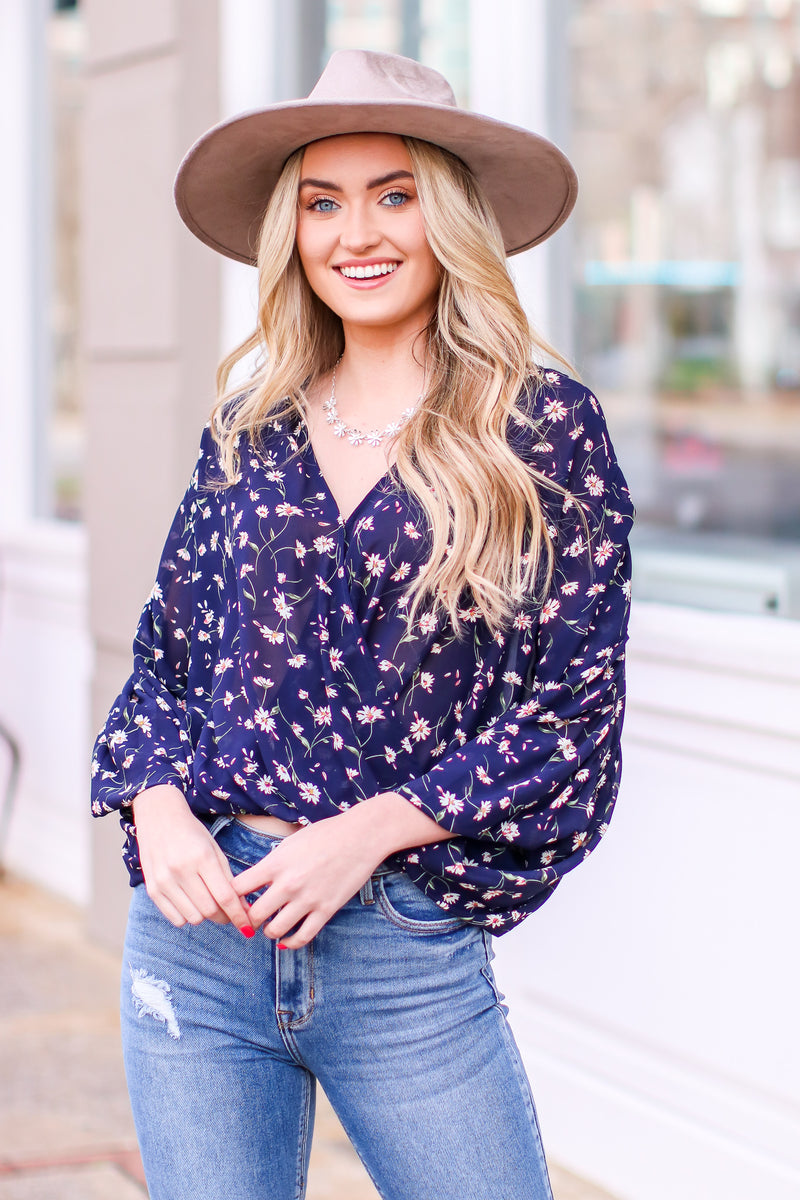 S / Navy Shreve Floral Surplice Flowy Top - Madison and Mallory