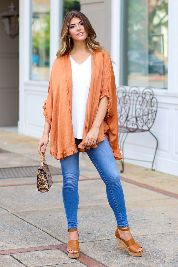 S / Pumpkin Dance My Way Ruffle Trim Kimono - Madison + Mallory