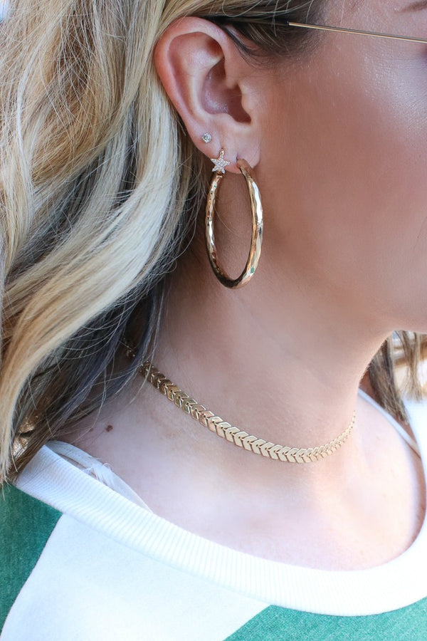 Liza Faceted Hoops - Madison + Mallory
