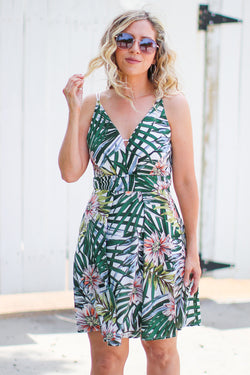 S / Green Beyond The Horizon Tropical Print Dress - Madison + Mallory