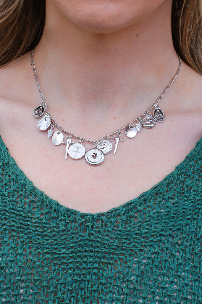 OS / Silver Sumter Coin Charm Necklace + MORE COLORS - Madison + Mallory