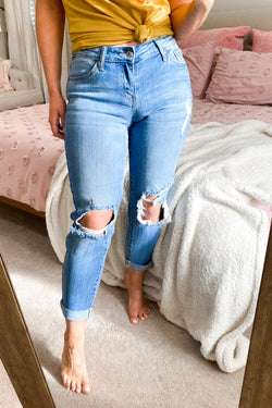 0 / Medium Light Reece Distressed Boyfriend Jeans - Madison and Mallory