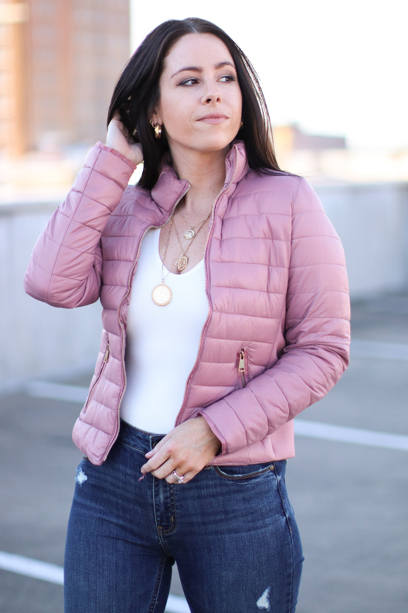 Mauve / S Cool Times Quilted Puffer Jacket | Doorbuster - Madison and Mallory