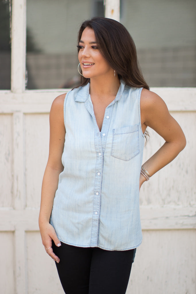 S / Light Wash High Low Sleeveless Button Up Top - FINAL SALE - Madison + Mallory