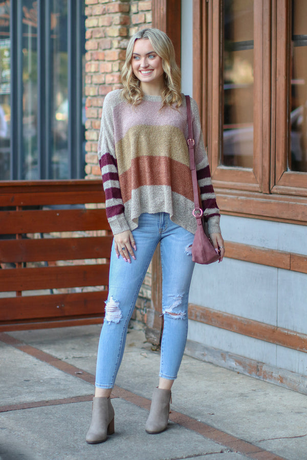 *DOORBUSTER* Slow Motion Color Block Striped Sweater - Oatmeal - Madison + Mallory