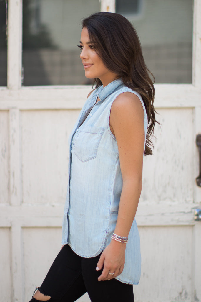 High Low Sleeveless Button Up Top - FINAL SALE - Madison + Mallory