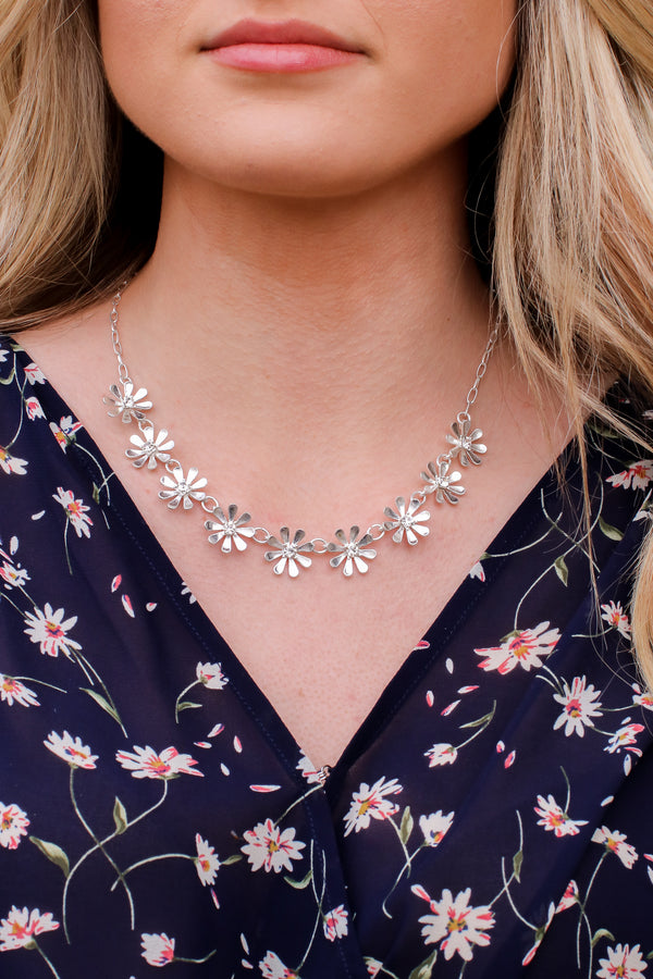 Silver Flourish with Me Floral Necklace - Madison and Mallory