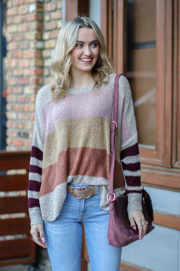 Oatmeal / S *DOORBUSTER* Slow Motion Color Block Striped Sweater - Oatmeal - Madison + Mallory