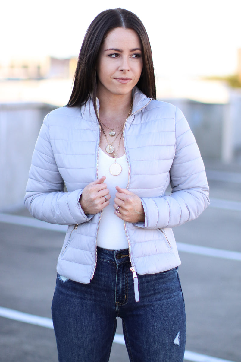 Silver / S Cool Times Quilted Puffer Jacket | Doorbuster - Madison and Mallory