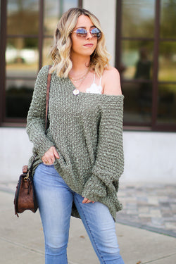 Olive / SM Aveline Popcorn Knit V-Neck Sweater - Olive - Madison + Mallory