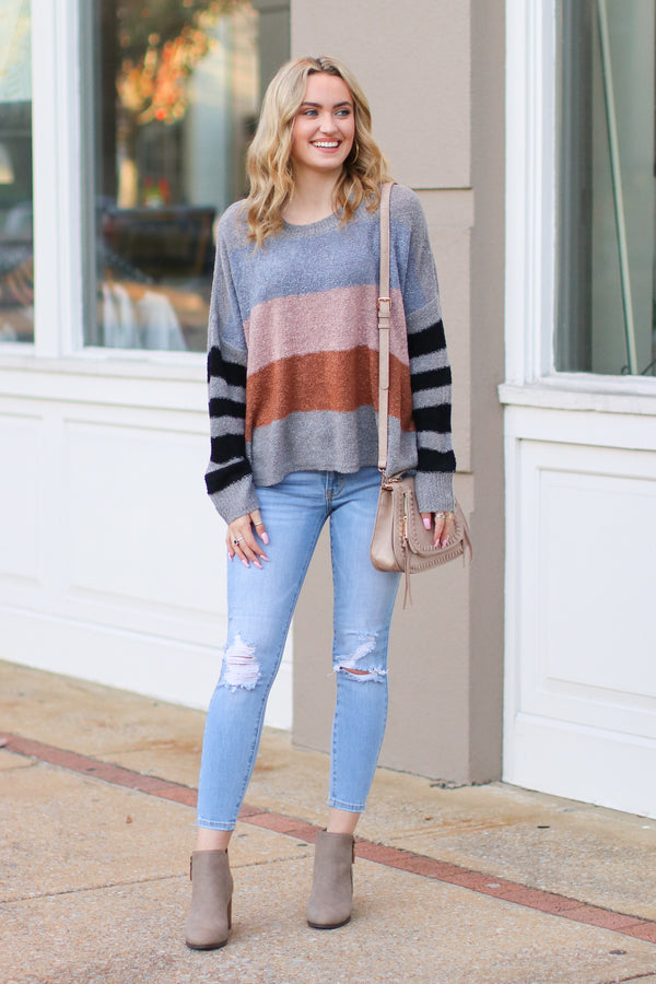 Slow Motion Color Block Striped Sweater - Gray - FINAL SALE - Madison and Mallory