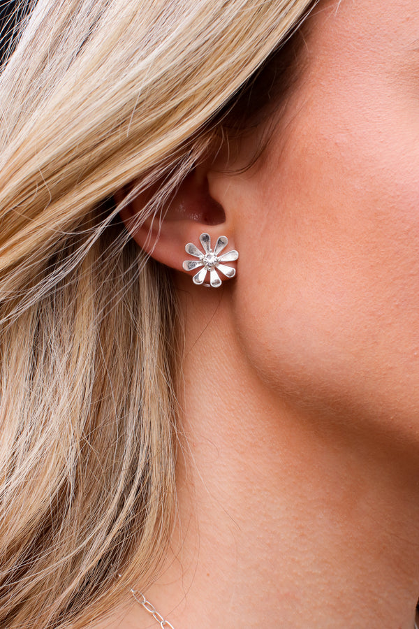 Silver Blissful Blooms Flower Stud Earrings - Madison and Mallory