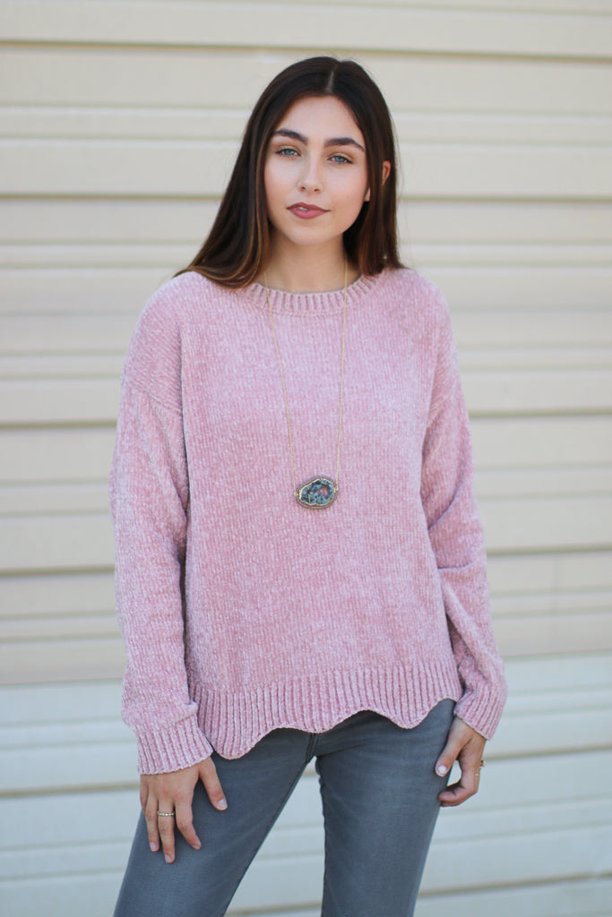 Pink / S Easton Chenille Scalloped Sweater - Madison + Mallory