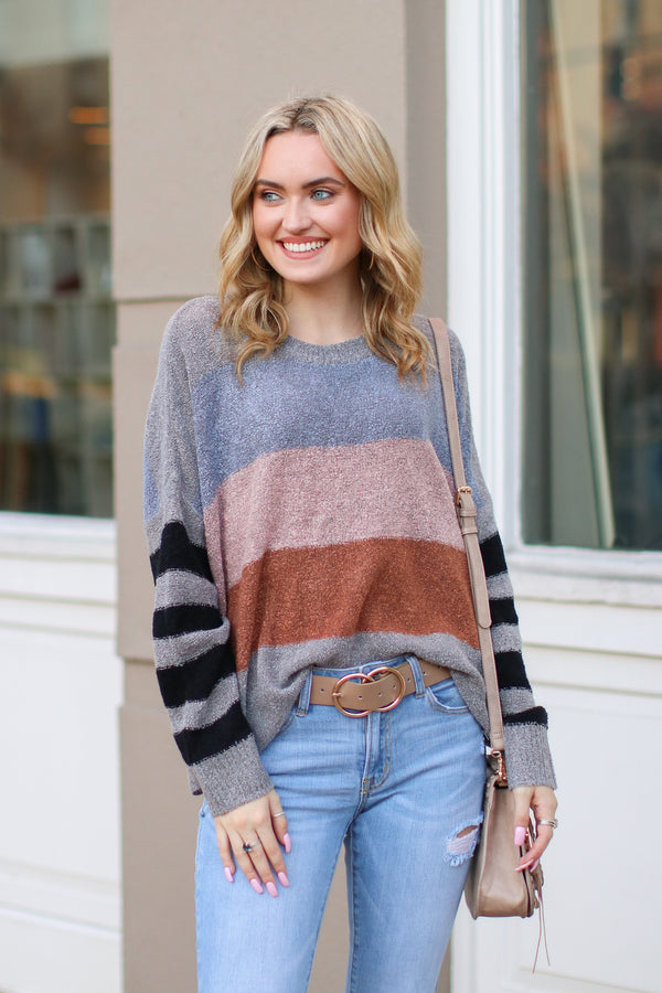 Gray / S *DOORBUSTER* Slow Motion Color Block Striped Sweater - Gray - Madison + Mallory