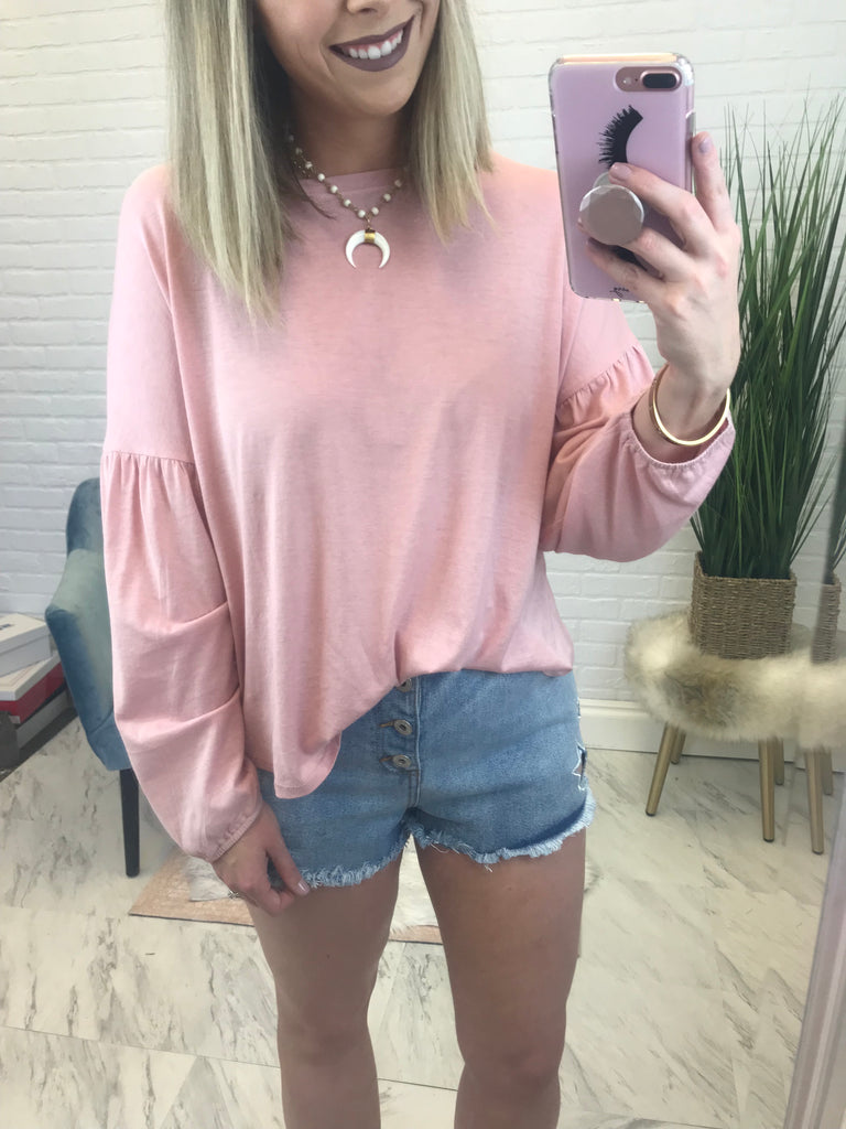 Pink / S Super Soft Balloon Sleeve Top - Madison + Mallory