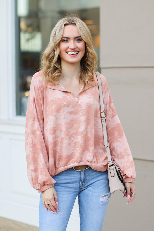 S / Coral Radiohead Tie Dye Mock Neck Zip Top - Madison + Mallory