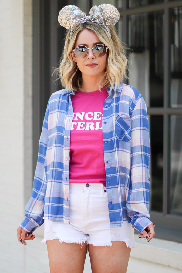 S / Blue Kellen Plaid Flannel Top - Madison + Mallory