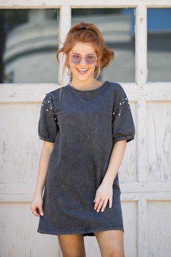 S / Charcoal Pearl Detail T-Shirt Dress - Madison + Mallory
