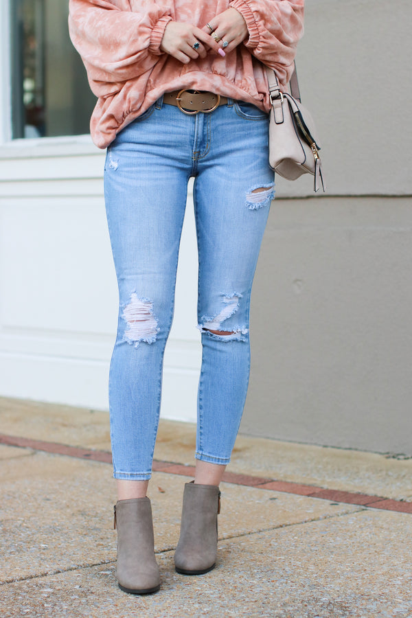 1 / Light Rana Distressed Skinny Jeans - Madison + Mallory