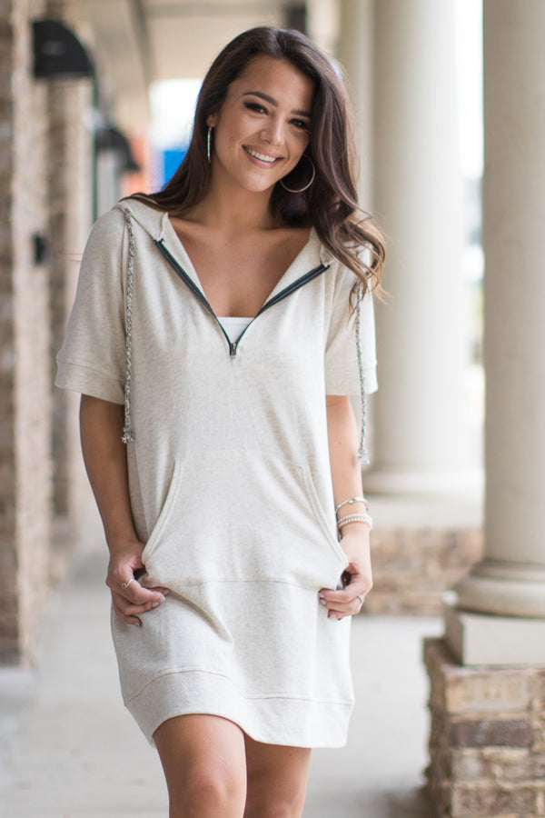 S / Oatmeal Hooded Sweatshirt Dress - Madison + Mallory