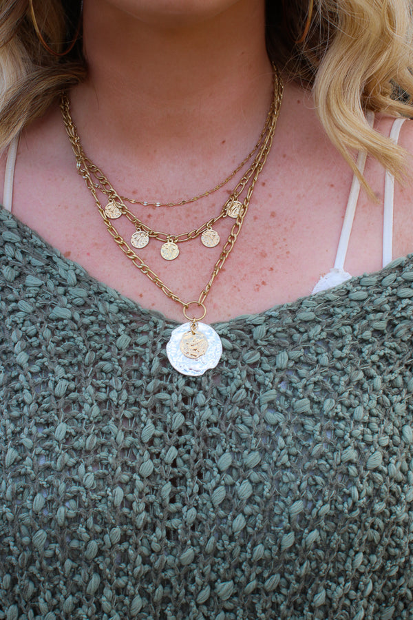 OS / Gold Gold Skies Layered Hammered Coin Necklace - Madison + Mallory