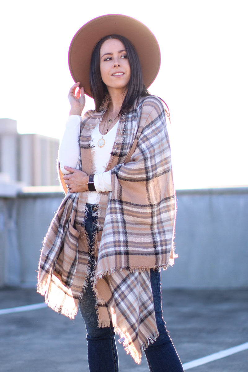 OS / Beige Cuddling Up Plaid Pocket Poncho Cardigan | Doorbuster - Madison and Mallory