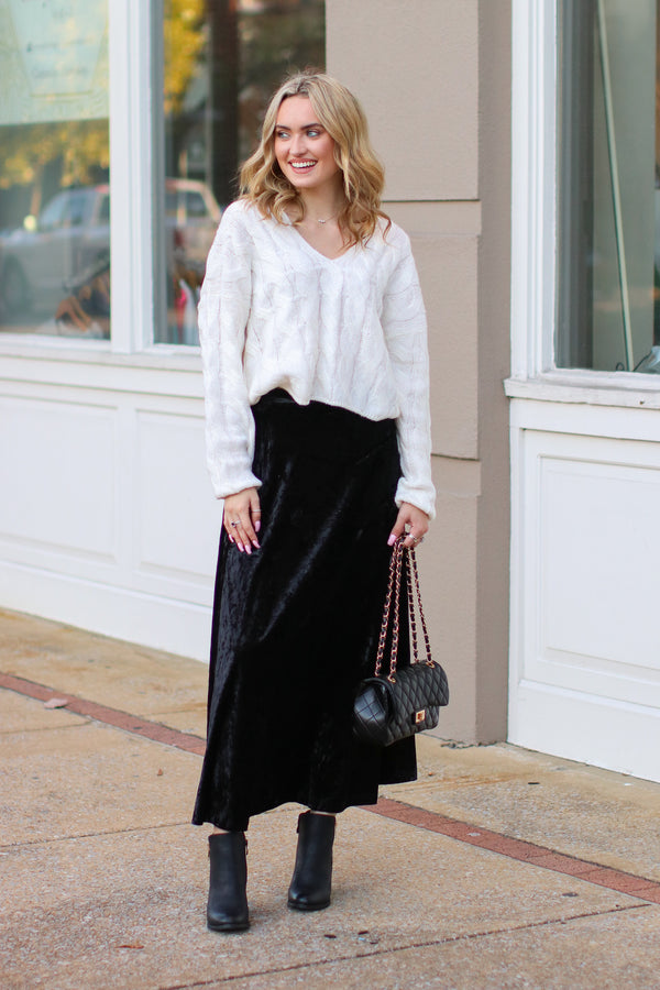 Confessions Velvet Maxi Skirt - FINAL SALE - Madison + Mallory