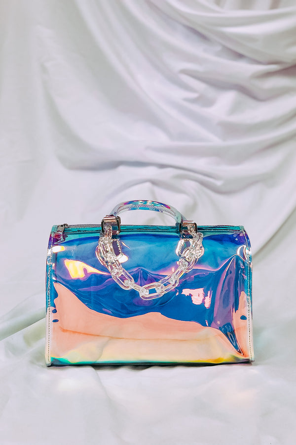 Just Bright Holographic Satchel Bag - Madison and Mallory