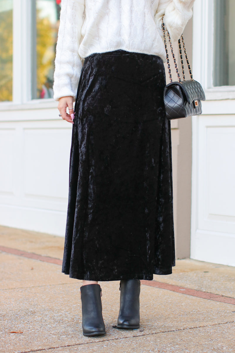 S / Black Confessions Velvet Maxi Skirt - Madison and Mallory