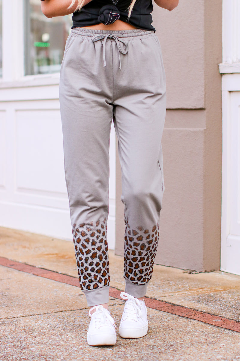 S / Light Gray Wild Living Animal Print Joggers - Madison and Mallory