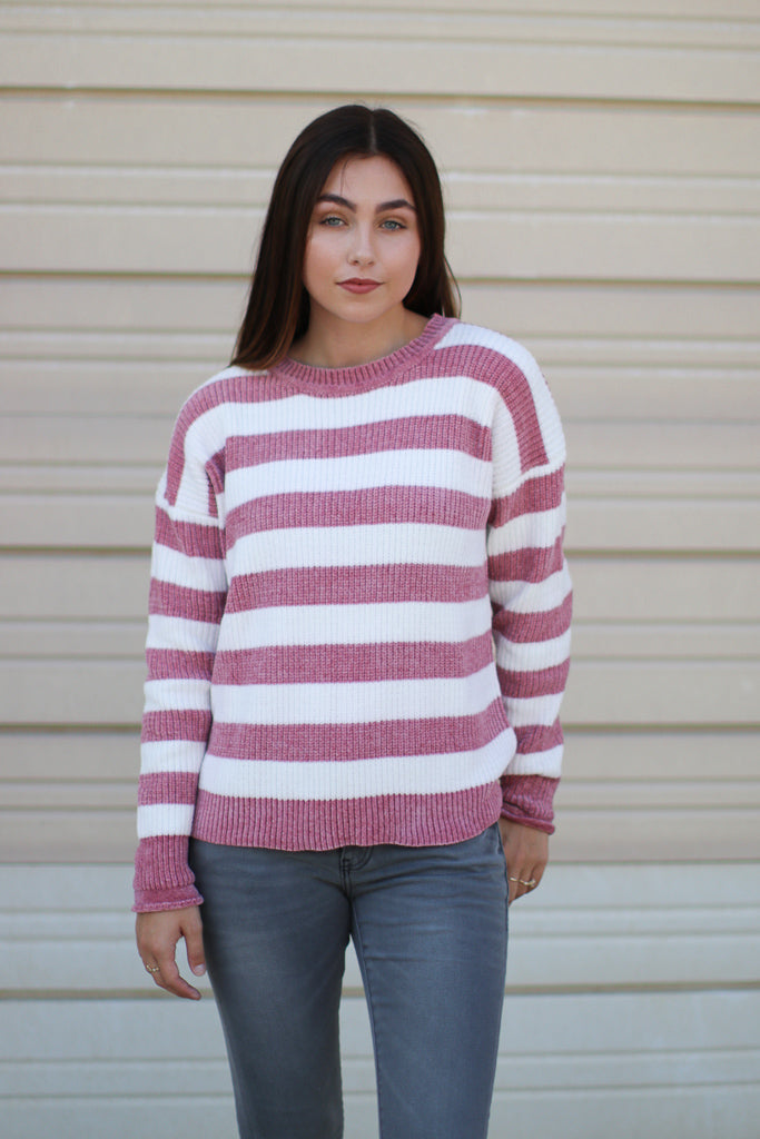 Mauve / S Amaya Striped Chenille Sweater - Madison + Mallory