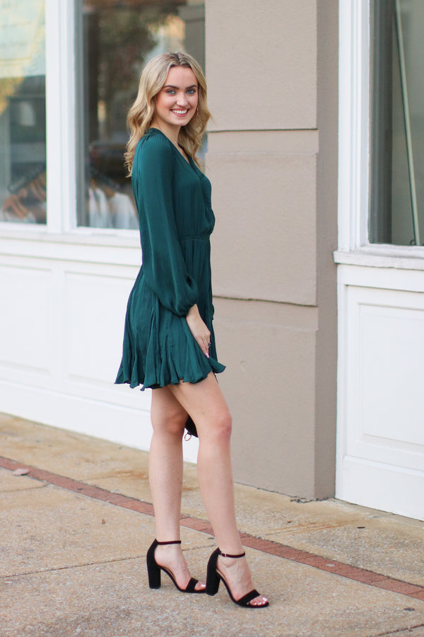Dancing with a Stranger Pleated Surplice Dress - Madison + Mallory