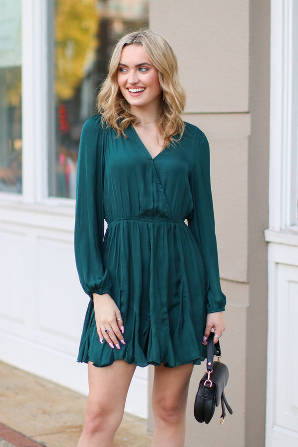 S / Hunter Dancing with a Stranger Pleated Surplice Dress - Madison + Mallory