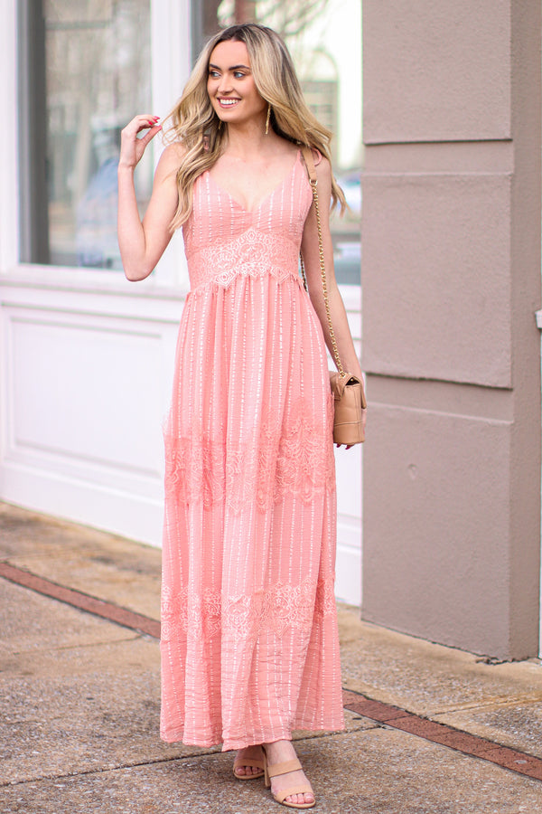 Pink / S Bridgerton Lace Embroidered Maxi Dress - Madison and Mallory