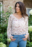 S / Ivory Ariana Floral Top - Madison + Mallory