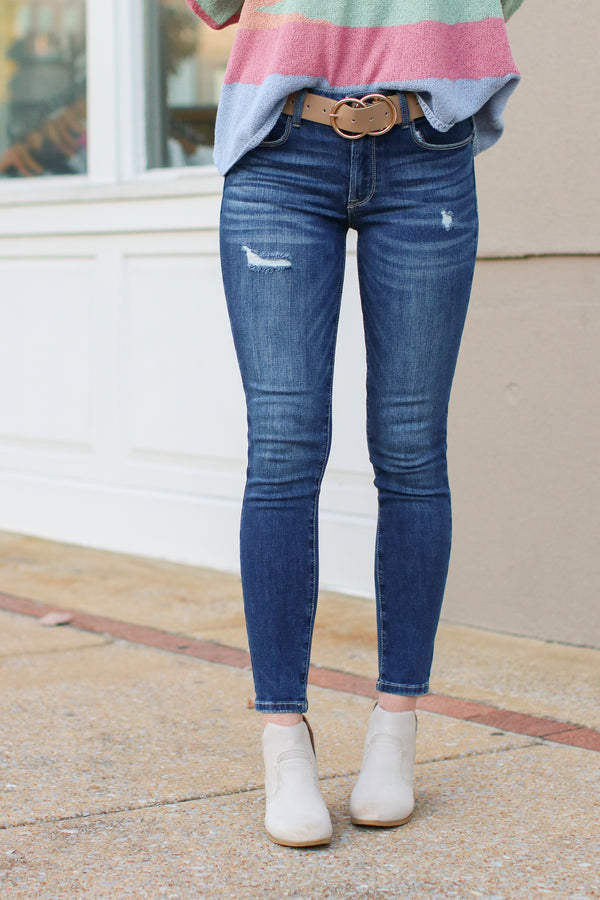 1 / Dark Mollie Distressed Skinny Jeans - Madison + Mallory
