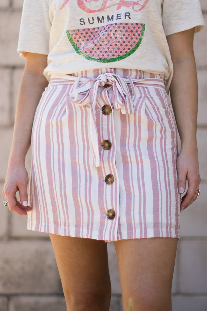 S / Misty Pink Maryam Striped Skirt - Madison + Mallory