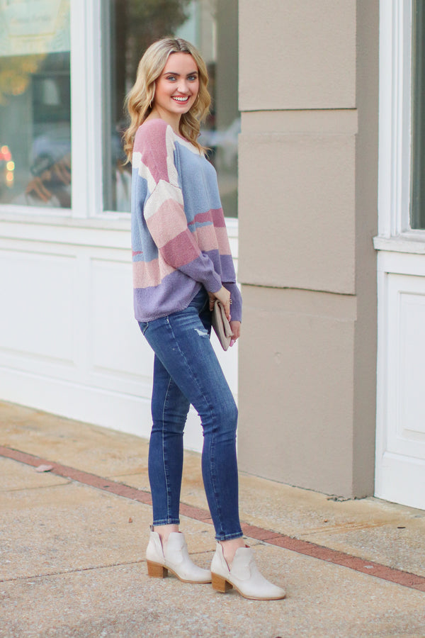 Tesora Color Block Sweater - Purple - Madison + Mallory