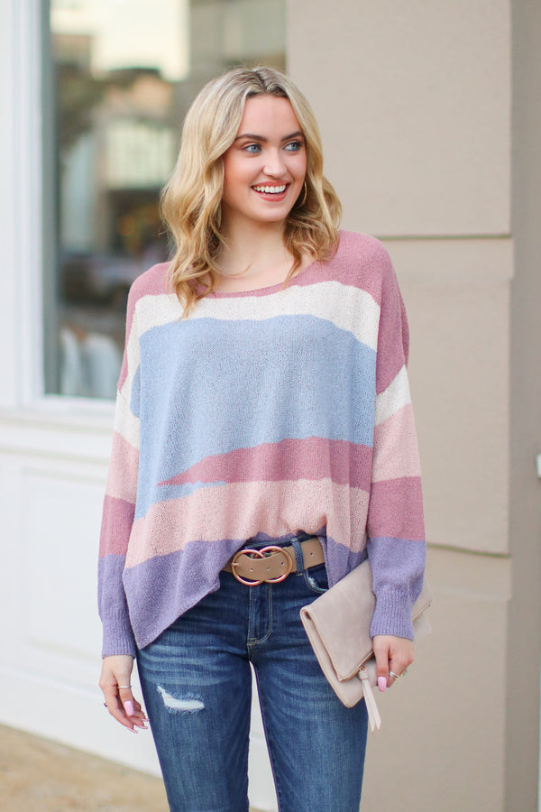Purple / S Tesora Color Block Sweater - Purple - Madison + Mallory