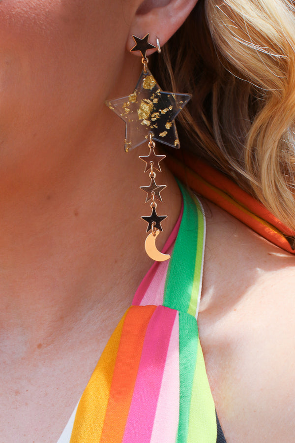Gold Out of this World Acrylic Star Drop Earrings - Madison + Mallory