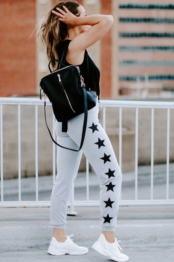 Star Shaker Printed Joggers - Heather Gray - Madison and Mallory