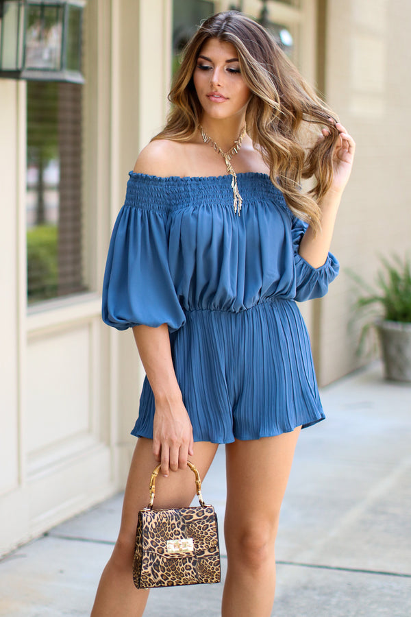 Taurus Pleated Off Shoulder Romper - FINAL SALE - Madison + Mallory