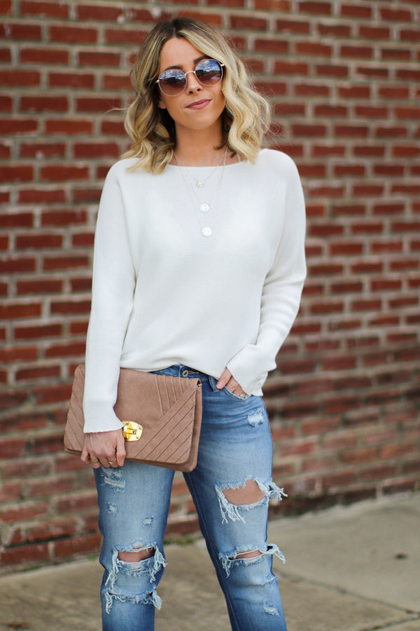 Mebane Ribbed Knit Dolman Top - Cream - Madison + Mallory