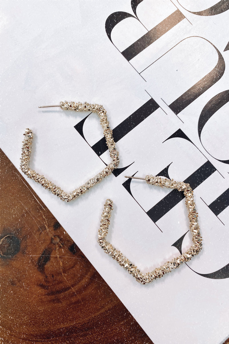 Gold Gracious Crystal Textured Geometric Hoop Earrings - Madison and Mallory