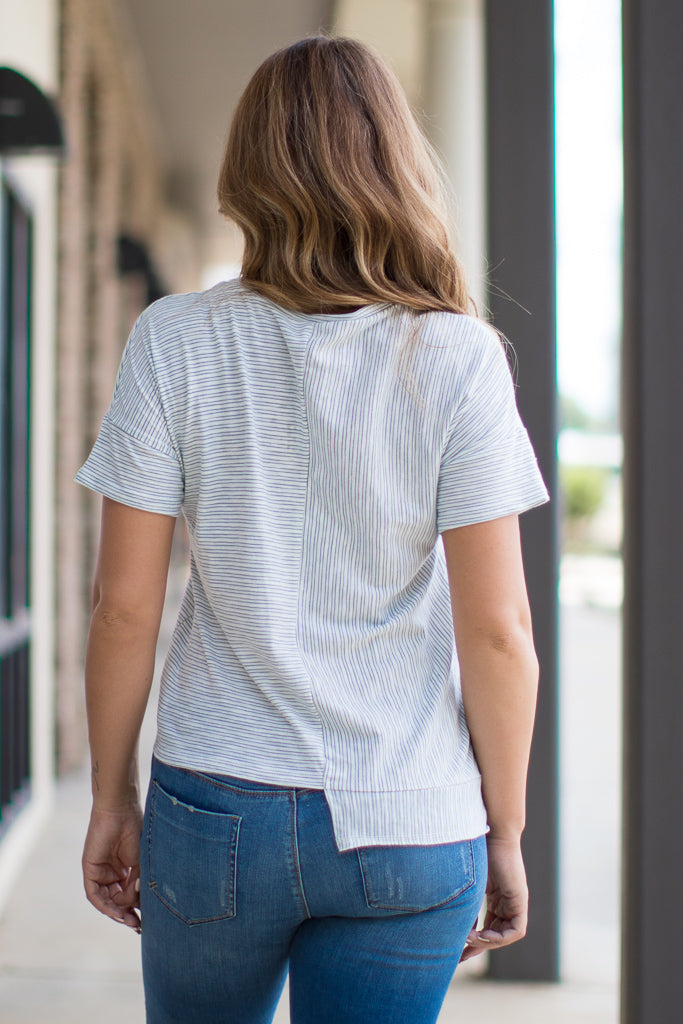 Asymmetrical Striped Top - Madison + Mallory
