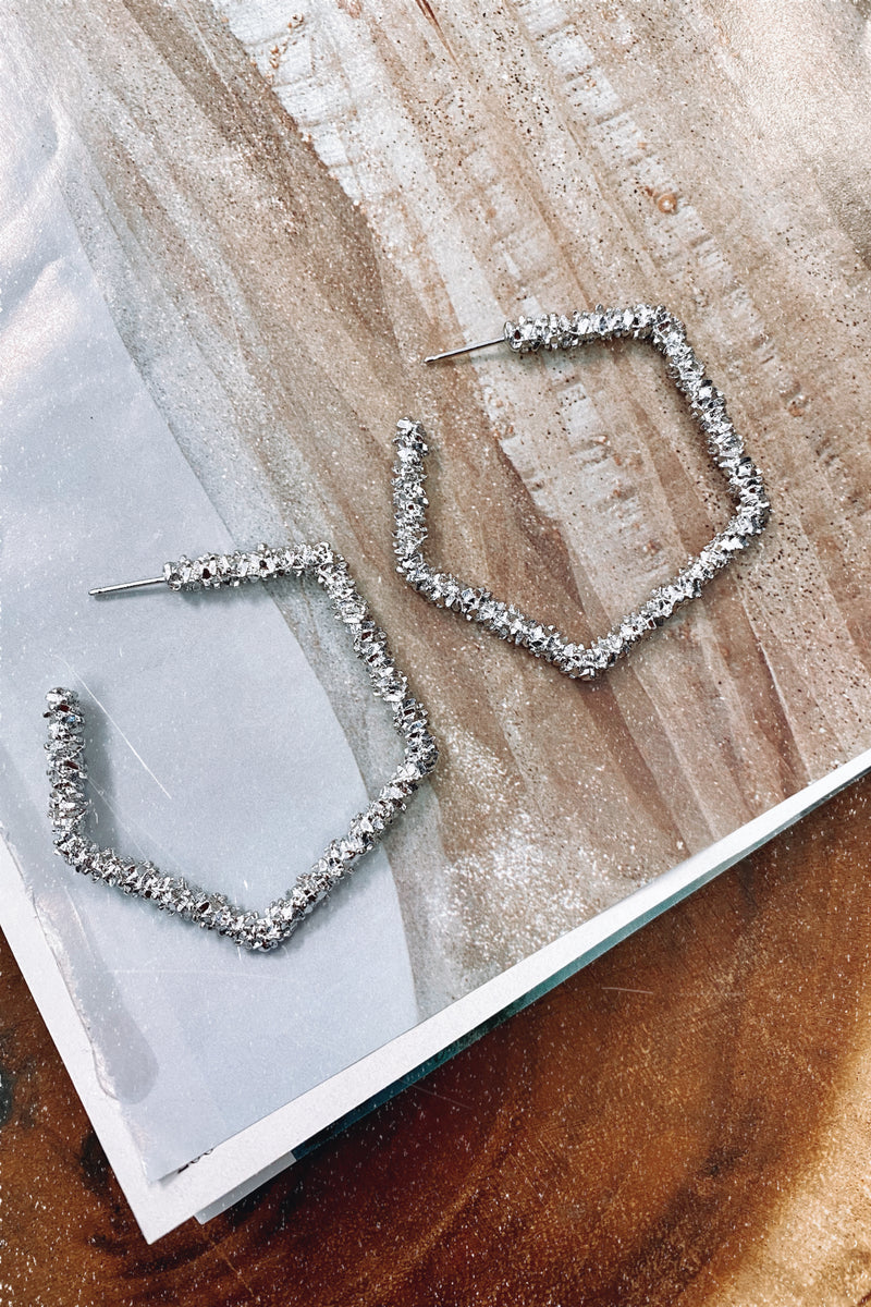 Silver Gracious Crystal Textured Geometric Hoop Earrings - Madison and Mallory