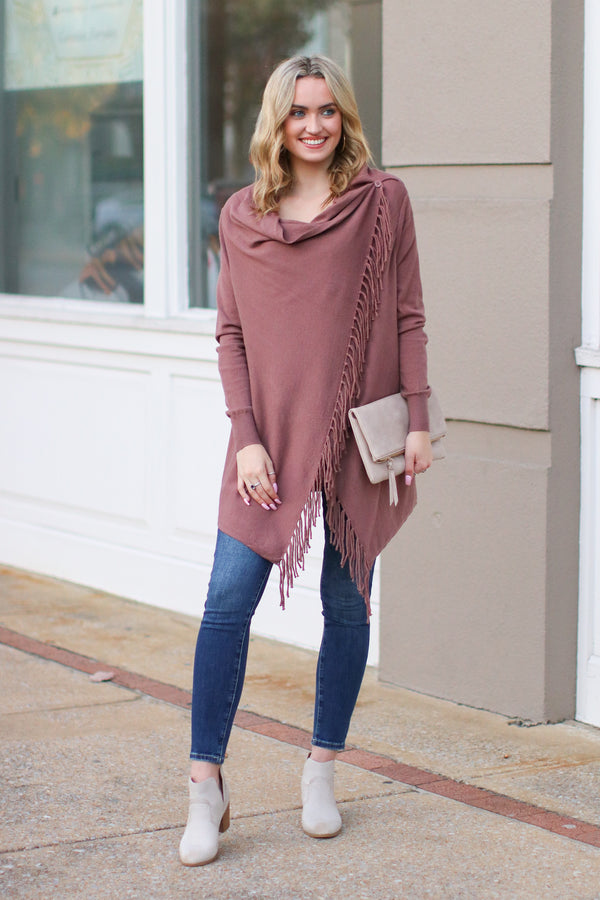 Fusion Fringe Trim Draped Cardigan - Mauve - Madison + Mallory
